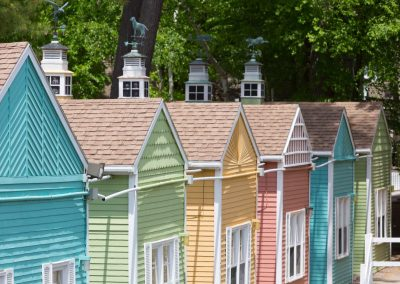 Row of vacation cottages.